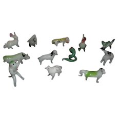 Set of 12 Miniature Glass Animals in Original Shipping Box