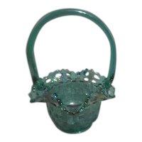 Fenton Iridescent Teal Colored Glass Basket
