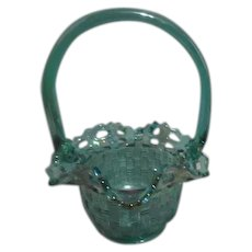 Fenton Iridescent Teal Colored Glass Basket