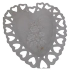 Westmoreland Heart Shaped White Satin Frosted Plate with Hand Painted/Transfer Flowers