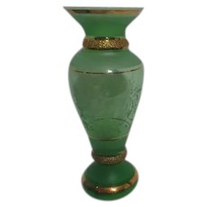 Bohemian Glass Green Vase with Gold Highlights and Etching