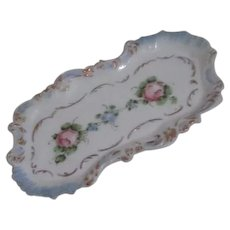 White Milk Glass Trinket Tray with Hand Painted Flowers and Gold Trim