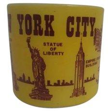 Federal Glass Co. Yellow New York Souvenir Mug