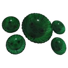 Anchor Hocking Inspiration/ Burple Forest Green Large Berry Bowl with 4 Individual Bowls