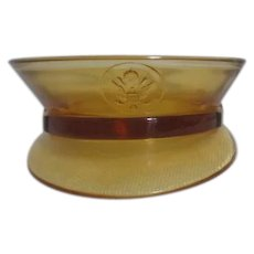 Military Cap Amber Glass Candy Container