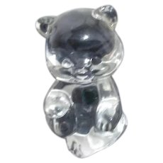 Fenton Clear Glass Birthday Bear for May Green Heart