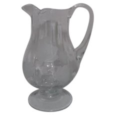 Clear Glass Footed Pitcher with Etched Roses