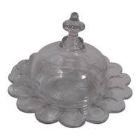 Heisey Clear Glass Round Covered Butter Dish