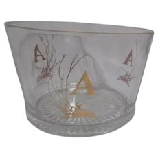 "Gold Edged Clear Glass Bucket/Bowl with ""A"""
