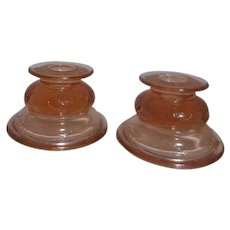 Pair of Pink Glass Candleholders