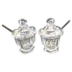 Pair of Clear Glass Condiment/Caviar Servers