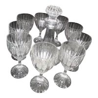 Crystal Decanter with Stopper and 9 Goblets