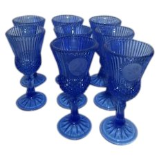 Set of12 Cobalt Blue Avon Fostoria George & Martha Washington Goblets
