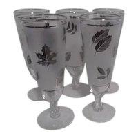 Set of 5 Silver Leaf Pattern Libbey Stemmed Pilsner Glasses