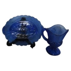 Cobalt Blue Small Platter and Pitcher Fostoria for Avon George & Martha Washington