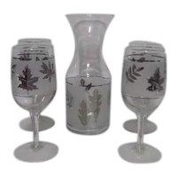 Set of 4 Silver Leaf Pattern Libbey Stemmed Wine Cordials with Carafe