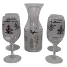 Set of 4 Silver Leaf Pattern Libbey Stemmed Wine Cordials with Carafe