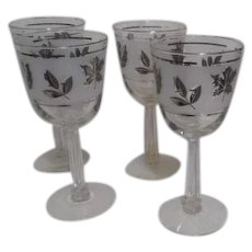 Libbey Silver Leaf Large Wine Goblets, Set of 4