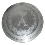 "Antique Clear Glass Plate with Frosted Crown, ""A"" and Leaf and Berry Design"