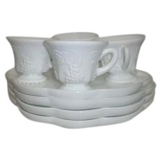 Colony Milk Glass Snack Set 4 Trays with 4 Cups Harvest Pattern