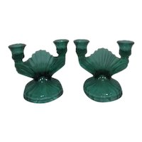 Jeannette Glass Swirl /Petal Swirl Sea Green/Teal Pair of Double Candle Holders/Candle Sticks
