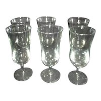 Set of 6 Clear Glass Footed Goblets