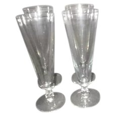 Set of 4 Clear Glass Pilsner Goblets