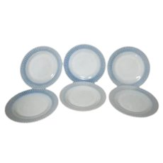 Federal Glass Company Moon Glow Pattern Set of 6 Dinner Plates 1974