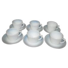 Federal Glass Company Moon Glow Pattern Set of 6 Cup and Saucer