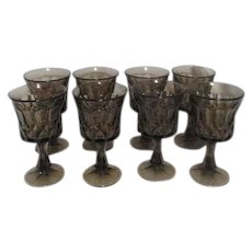 Set of 8 Smoked Amber Shade Glass Goblets