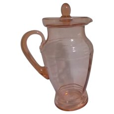 Pink Depression Glass Pitcher with Lid