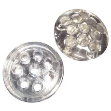 Two Clear Glass Round Flower Frogs