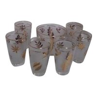 Libbey Gold Leaf Ice Bucket and 6 Glasses