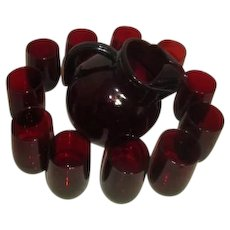 Anchor Hocking Ruby Red Depression Glass Tilted Ball Pitcher with 13 Juice Glasses