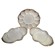 Anchor Hocking Fire King Milk Glass White with Gold Trim Egg Plate with Two Relish Plates