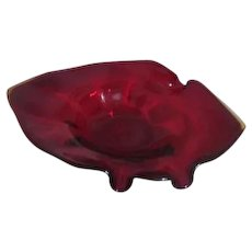 Red Blown Art Glass Bowl with Yellow Edge