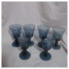 Set of 7 Blue Panel Sides Wine Goblets