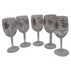 Set of 5 Gold Autumn Leaves and Frosted Glass Wine Goblets