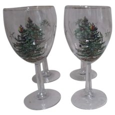Set of 4 Spode Christmas Tree All Purpose Wine Goblets