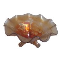 Carnival Glass Marigold Footed Ruffled Bowl Embossed with Cherries and Leaves