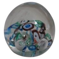 Glass Globe Paperweight with Mille Fiori