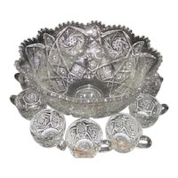 Clear Glass Punch Bowl with 11 Cups