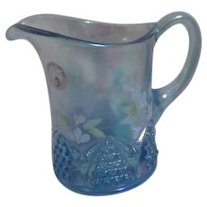Small Fenton Blue Pitcher with Hand Painted Flowers Signed