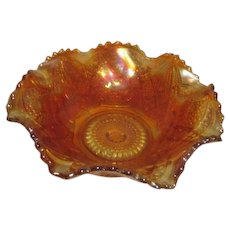 Marigold Carnival Glass Sawtoothed Ruffled Edge Bowl