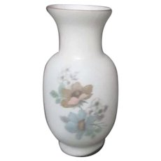 White Satin Glass Vase with Pastel Flowers