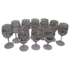Set of 10 Goblets with  Assorted Flowers Decorations 2 Sizes