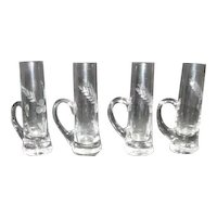 Set of 4 Etched Crystal Cordial/Shot Glasses with Handles