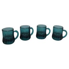 Federal Glass Company Teal Shot Glasses Set of 4