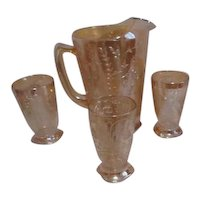 Jeannette Glass Company Floragold Iridescent Pitcher with Three Glasses