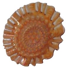 Marigold Carnival Glass Bowl with Ruffled Edges